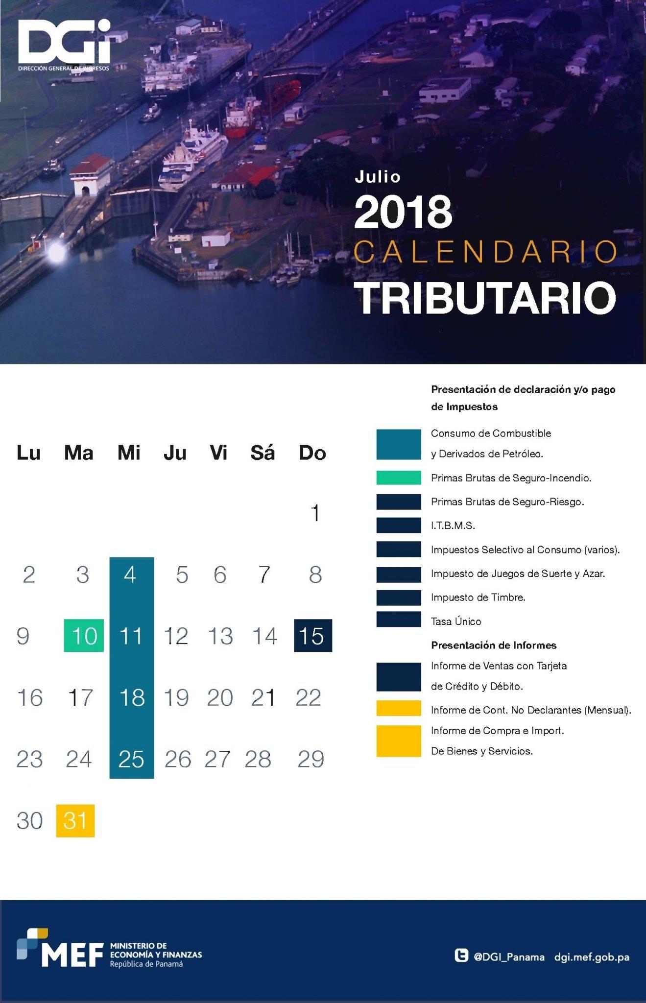 Impuestos que vencen en julio 2018 en Panama